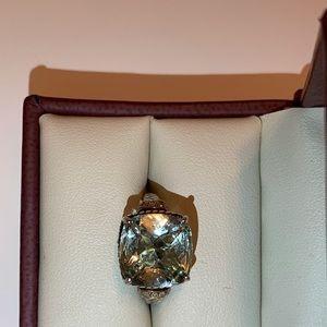 Green Amethysts Silver Ring